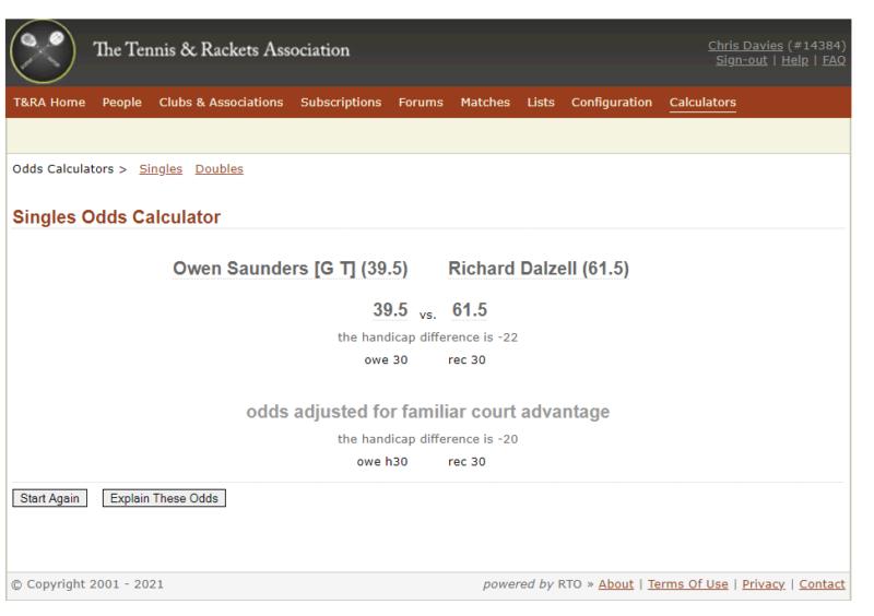 Handicap Example from Real Tennis Online
