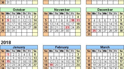 2018/19 Calendar Files